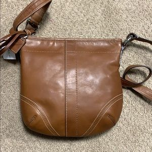 New. Light Brown leather coach purse